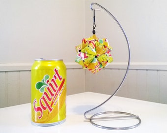 Squirt Can Origami Ornament.  Upcycled Recycled Repurposed Art