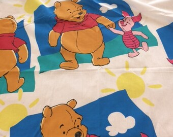Vintage Winnie the Pooh Blue Clouds Sun Twin Sheet Set Flat Fitted Pillowcase Fabric
