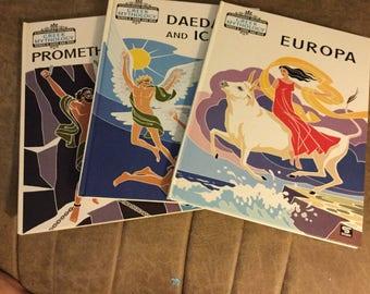 Set of 3 Hardcover Books/ Stephanides Brothers Greek Mythology Books /Series B Gods and Men/1989   Europa/Daedalus and Icarus/Prometheus