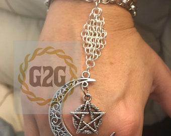 Moon and Pentagram Chainmail Slave Bracelet
