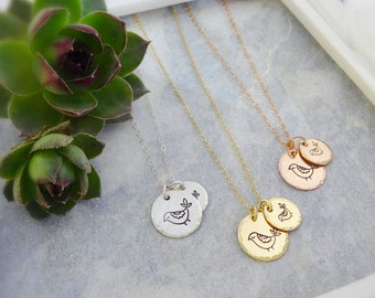 Mama and Baby bird necklace, hand stamped charm necklace for mom, mothers day gift idea, mother of the bride gift from daughter, Otis B