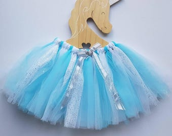 Girls fairy tutu skirt ~ Sz 3-5 - Ice Queen ~ Blue, white and white glitter frozen ice colours.