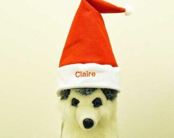 Christmas Pet Santa Hat Personalized  MEDIUM   Photo Prop   Santa Hat With Name