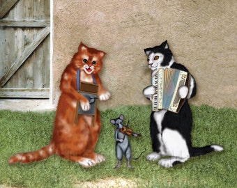 Zydeco Cats and Fiddle Playing Rat Print
