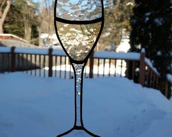 White wine stained glass suncatcher
