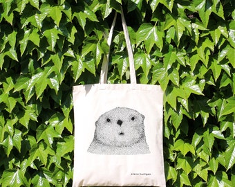 Einkaufstasche neugierig Otter 100 % natürlicher Baumwolle Henkel Otter Einkaufstasche Otter Tasche niedlichen Tier Markt Baumwolle Shopper Otter Geschenktüte