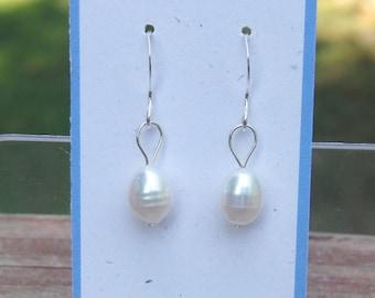 white freshwater pearl earrings