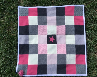 Pink and Gray Star Cashmere Baby Blanket Recycled Repurposed Quilt Throw