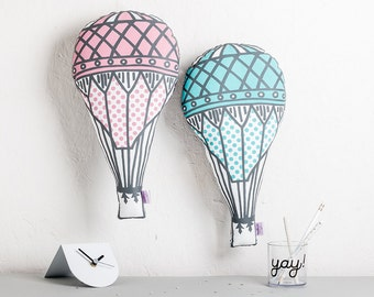 Pastel Nursery Cushion, Hot Air Balloon Pillow, Stylish Nursery, Whimscal Decor, Decorative Cushion, Gifts for new Home, Adventure Awaits