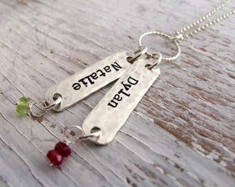 Personalized Kids Names Necklace, Mother's Necklace, Mommy, Grandmother with Birthstones