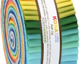"""Kona Cotton Summer 13 New Colors JELLY ROLL from Robert Kaufman - 40 2.5""""x44"""" strips (2.8 yards)"""