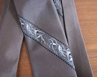 1960/70s Taupe Silk Twill  Necktie by Dore/  Switzerland / Lord & Taylor