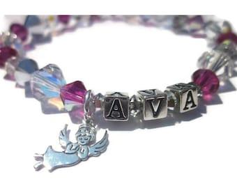 Angel in Heaven Bracelet - Personalized Bracelet, Name Bracelet, Swarovski, Birthstone Jewelry, In Remembrance