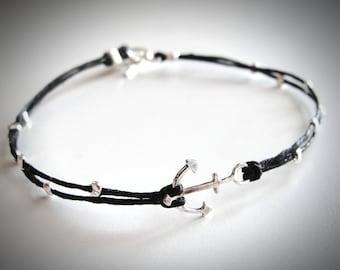Anchor bracelet, Nautical bracelet, sterling anchor linen bracelet, delta gamma anchor, graduation gift, gift for woman, ready to ship