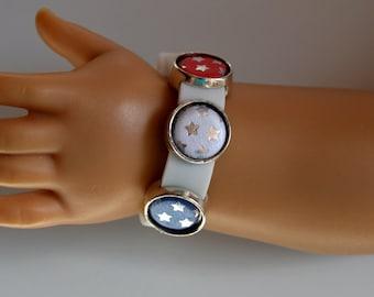 "18 Inch Doll Jewelry, 18"" Doll Bracelet, Handmade, White Silicone Slide Charm Band Bracelet, Red, White and Blue Slide Charm Doll Bracelet"