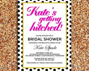 Getting Hitched Modern Bridal Shower Invitation   DIY Printable Digital File