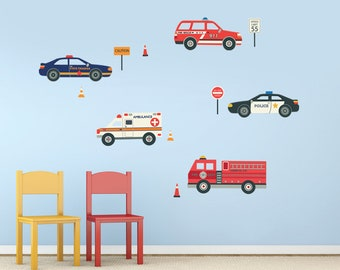 Wall Decals Emergency EMS Vehicles, Removable and Reusable Police Car, Fire Truck, Ambulance, EMS Fabric Wall Decal Stickers