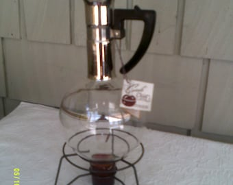 Vintage Glass Coffee Carafe with Warmer Stand, by Inland Glass, Mid Century Modern, Modern Coffee Carafe