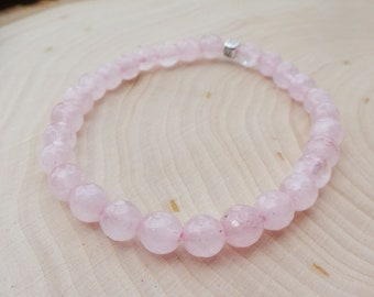 Rose Quartz Jewelry Rose Quartz Bracelet Pink Jewelry Bead Bracelet Gift for Her Bridesmaid Gift Pink Bracelet Beaded Jewelry Pink Quartz
