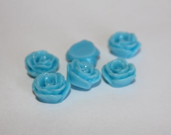 10 SMALL ROSE Cabochons - 12mm - Sky Blue Color