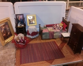 High Quality dollhouse furniture bedroom set lot hand dressed made bed vintage Bespaq armoire + dresser marble top night stand rug doll 1/12