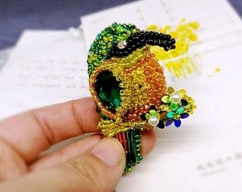 DIY Handmade Woodpecker Animal Brooch Kit, Beading Craft, Bead Embroidery,Jewelry,Gift,Decoration