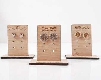 CUSTOM EARRING DISPLAY - personalised engraved solid Beech wood, Perfect mini display for crafts, Logo or Brand name, stands for trade booth