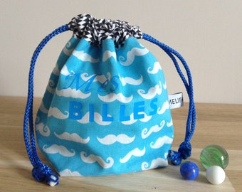 Kids DrawString bag / bag of marbles - mustache, blue and white