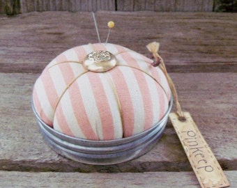 Peach Stripe Mason Jar Lid Pincushion, Pinkeep, Country Primitive Sewing Accessory, Rustic Farmhouse, Sewing Notion