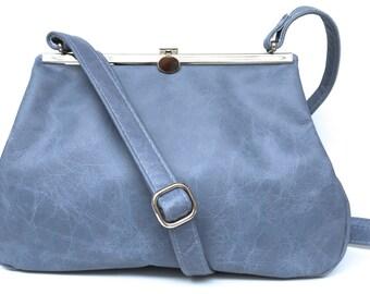 """Leather bag , leather handbag , handbag blue leather, shoulder bag , Clipper SMALL, """"BLUESKY"""" , handbag with snap"""