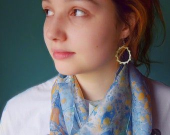 Silk Marbled Scarf, Handmade (Blue & Orange)
