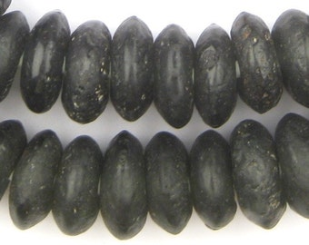 65 Charcoal Donut Disk Recycled Glass Beads - Large Rondelle Beads - Ghana Glass Beads - Black Glass Beads - African Beads (RCY-DSK-BLK-951)