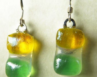 Green and Yellow Fused Glass Earrings
