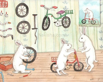 Bike Shop- Fine Art Rabbit Print