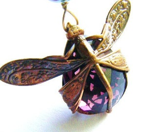 Dragonfly Necklace-Harvest Pattern Art Nouveau with Tourmailne Pink Glass Stone with hand beaded chain many colors availble