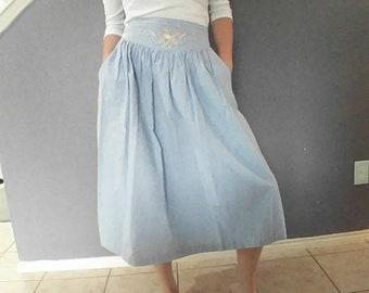 Vintage Jane Ashley Washed Denim Midi Skirt
