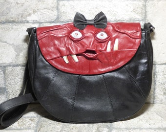 Cross Body Adjustable Purse With Face Monster Black Leather Unique Gift 451