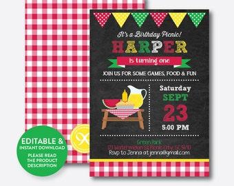 Instant Download, Editable Picnic Birthday Invitation, Picnic Invitation, Picnic Party Invitation, Pink Gingham Invite, Chalkboard(CKB.120B)
