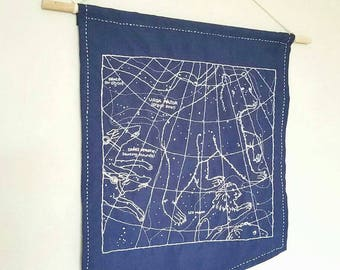 Astrology diagram hand embroidered wall hanging, science art