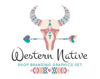 Cow Skull Shop Branding Banners, Avatar Icons, Business Card, Logo Label + More - 13 Premade Graphics Files - WESTERN NATIVE