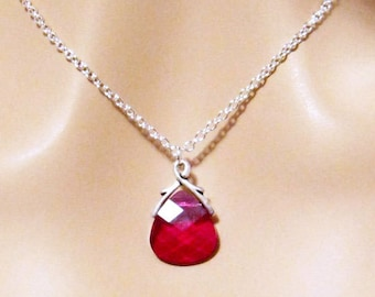 Ruby Red Swarovski Crystal Necklace, Red Crystal Necklace, Briolette, Red Wedding Jewelry, Red Bridesmaids Necklace Gift
