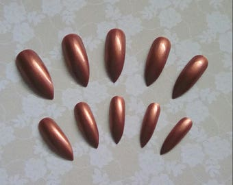 Long Metallic Rusty Gel Stiletto Nails