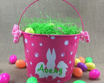 Personalized pink Easter basket, Easter bucket, Easter pail customized with little girls name.