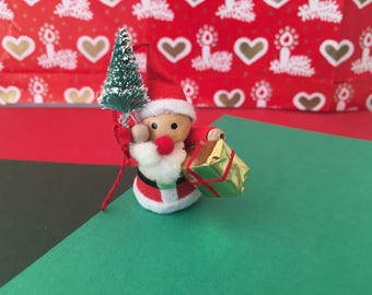 Vintage Wooden Miniature Santa Ornament with Tree and Present