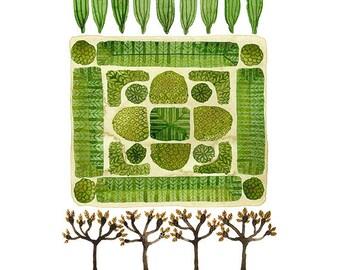 GROßES Parterre Garten Nr. 1 drucken, Aquarell Reproduktion, Giclee print, Garten planen, englischer Garten Illustration, pflanzlichen Stoffen