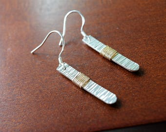 Sterling Silver Hammered Dangle Earrings with Gold-Filled Wire