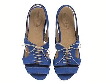 Shirley, Royal Blue, Sandals, Flat Leather Sandals