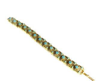 Vintage Blue and Gold Bracelet 1970's Costume Jewelry Blue Beaded Filigree Link Bracelet Gold Tone Filigree Bracelet Retro Bracelet