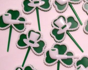 12 St Patricks Day Shamrock Clover Cupcake Picks