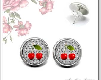 Stud Earrings 12 mm cabochon sweet cherries OSH-012-344